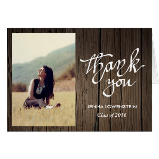 Graduate Wood Thank You Handwritten Photo Greeting Card