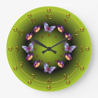 Graduated Green Butterfly ring Clocks