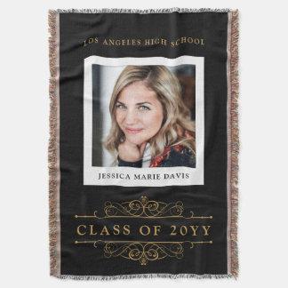 Graduating Class Year with Graduate Photo Throw Blanket