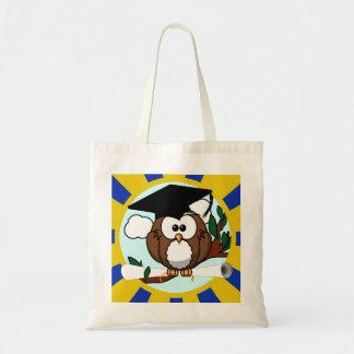 Graduating Owl w/  Blue & Gold School Colors Budget Tote Bag