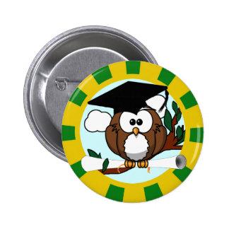 Graduating Owl w/  Green & Gold School Colors 6 Cm Round Badge