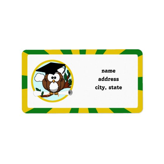 Graduating Owl w/  Green & Gold School Colours Address Label