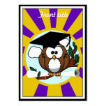 Graduating Owl w/  Purple & Gold School Colours Pack Of Chubby Business Cards