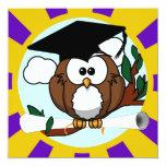 Graduating Owl w/  Purple & Gold School Colours 13 Cm X 13 Cm Square Invitation Card