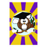 Graduating Owl w/  Purple & Gold School Colours Stationery Paper