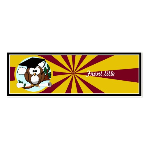 Graduating Owl w/  Red & Gold School Colors Business Card Templates