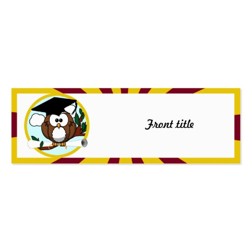 Graduating Owl w/  Red & Gold School Colors Business Card Template