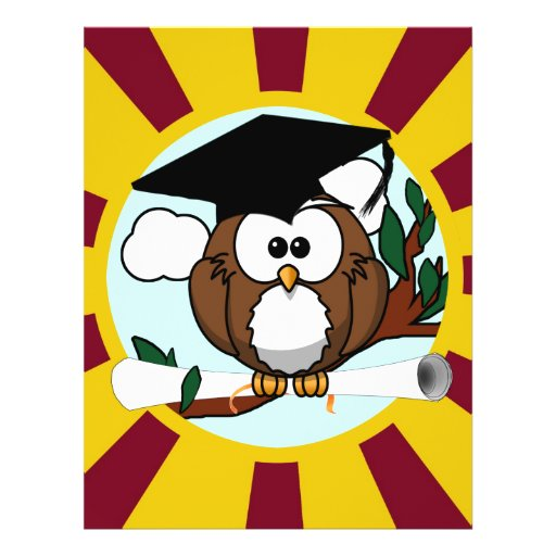 Graduating Owl w/  Red & Gold School Colors Full Color Flyer