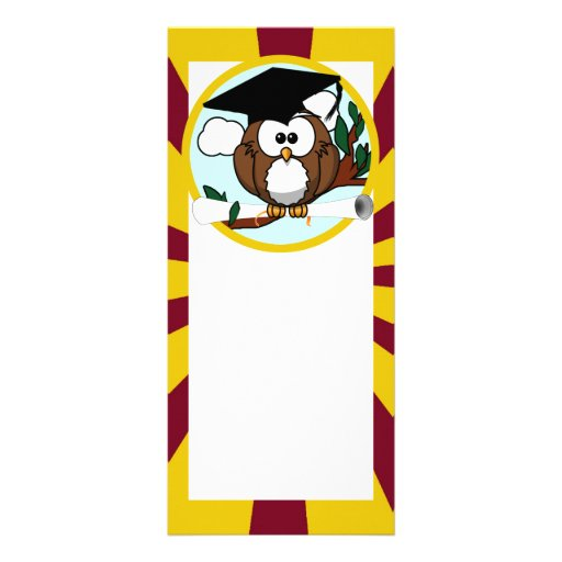 Graduating Owl w/  Red & Gold School Colors Rack Card
