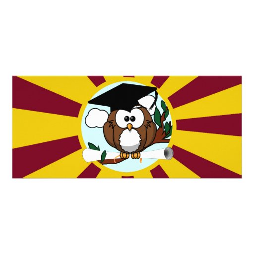 Graduating Owl w/  Red & Gold School Colors Full Color Rack Card