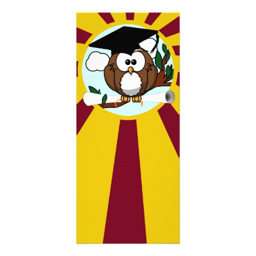 Graduating Owl w/  Red & Gold School Colors Customized Rack Card