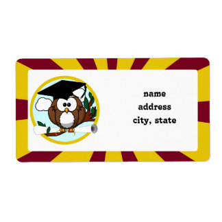 Graduating Owl w/  Red & Gold School Colours Shipping Label