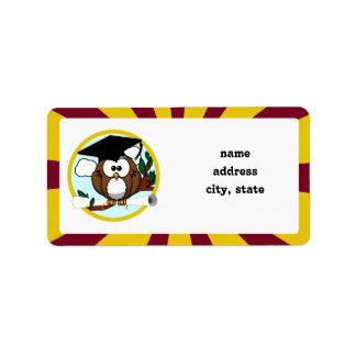 Graduating Owl w/  Red & Gold School Colours Address Label