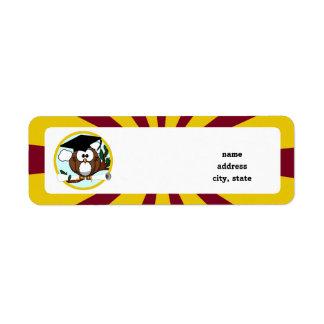 Graduating Owl w/  Red & Gold School Colours Return Address Label