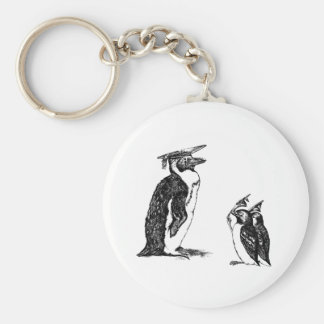 Graduating Penguins Tip Hats to Don Basic Round Button Key Ring