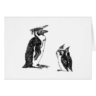 Graduating Penguins Tip Hats to Don Greeting Card