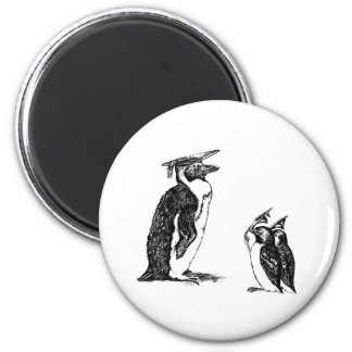 Graduating Penguins Tip Hats to Don 6 Cm Round Magnet