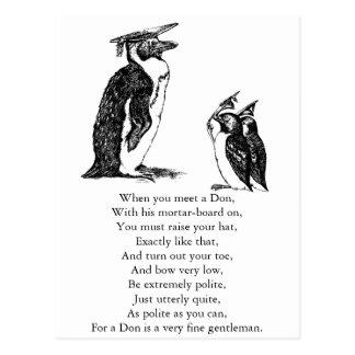 Graduating Penguins Tip Hats to Don Postcard