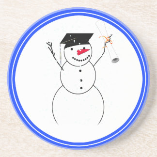 Graduating Snowman for the Little Graduate Beverage Coaster
