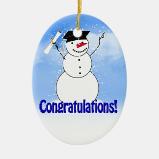 Graduating Snowman With Diploma Ceramic Oval Decoration