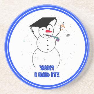 Graduating Snowman - YAY I DID IT Drink Coaster