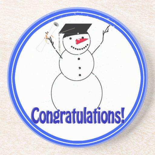 Graduating Snowmen - Congratulations! Beverage Coasters