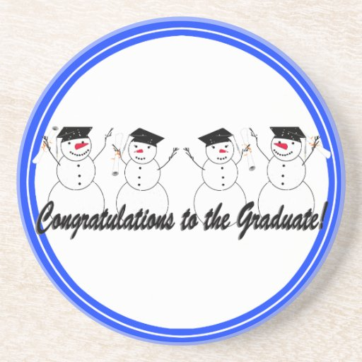 Graduating Snowmen In a Row Coaster