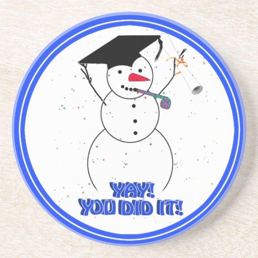 Graduating Snowmen - YAY! You did it! Drink Coaster