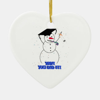 Graduating Snowmen - YAY You did it Christmas Tree Ornament