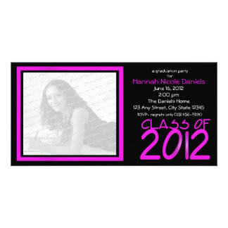Graduation 2012/ Neon Pink Personalized Photo Card