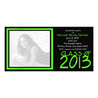 Graduation 2013 Neon Green Personalised Photo Card