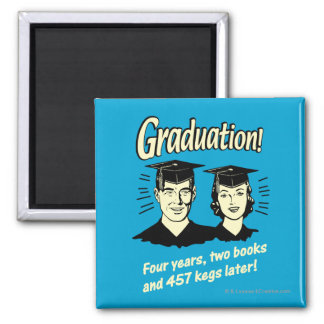 Graduation: 4 Years, 2 Books Square Magnet