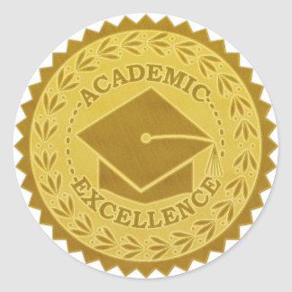 Graduation Academic Excellence Faux Gold Seal Round Sticker
