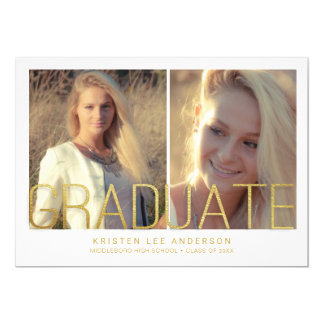 Graduation Announcement - 2 Photos Gold Lettering