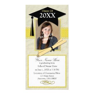 Graduation Announcement Photo Card-Black & Yellow Card