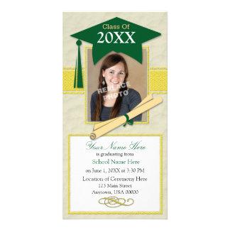 Graduation Announcement Photo Card-Green & Yellow Card
