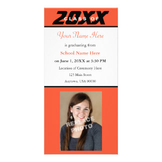 Graduation Announcement Photo Card-Orange & Black Card