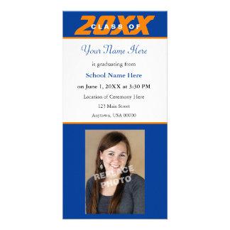 Graduation Announcement Photo Card-Orange & Blue Card