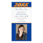 Graduation Announcement Photo Card-Orange & Blue Custom Photo Card