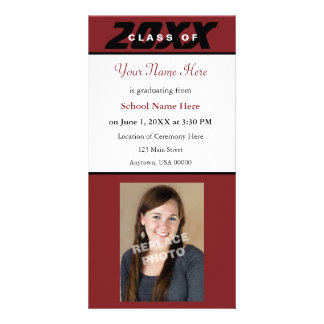Graduation Announcement Photo Card-Red and Black Customized Photo Card