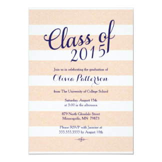 Graduation Announcement - Pink and Gold Glitter