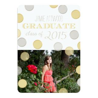 Graduation Announcement | Silver and Gold Bubbles