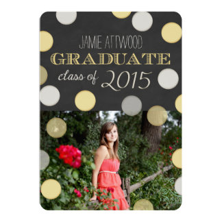 Graduation Announcement | Silver Gold Chalkboard