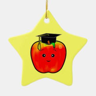 Graduation Apple with Cap on a Star Christmas Ornament