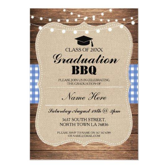 Graduation BBQ Invitation Blue Rustic Wood