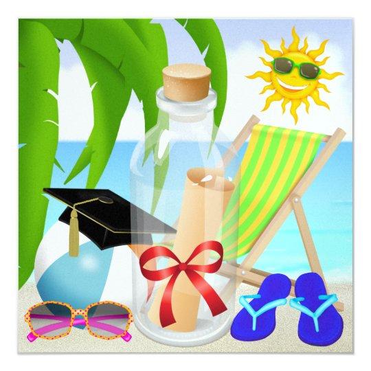 Graduation Beach Party - Invitation in a Bottle -
