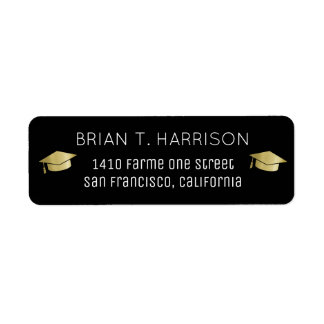 graduation black return address label