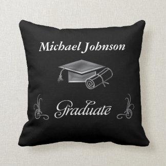 Graduation Black & Silver 3D Look, Cap & Diploma Cushion