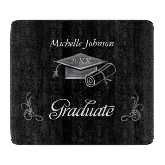 Graduation Black & Silver 3D Look, Cap & Diploma Cutting Boards