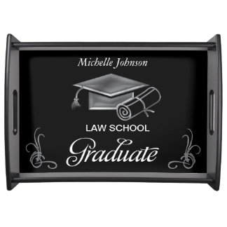 Graduation Black & Silver 3D Look, Cap & Diploma Food Trays